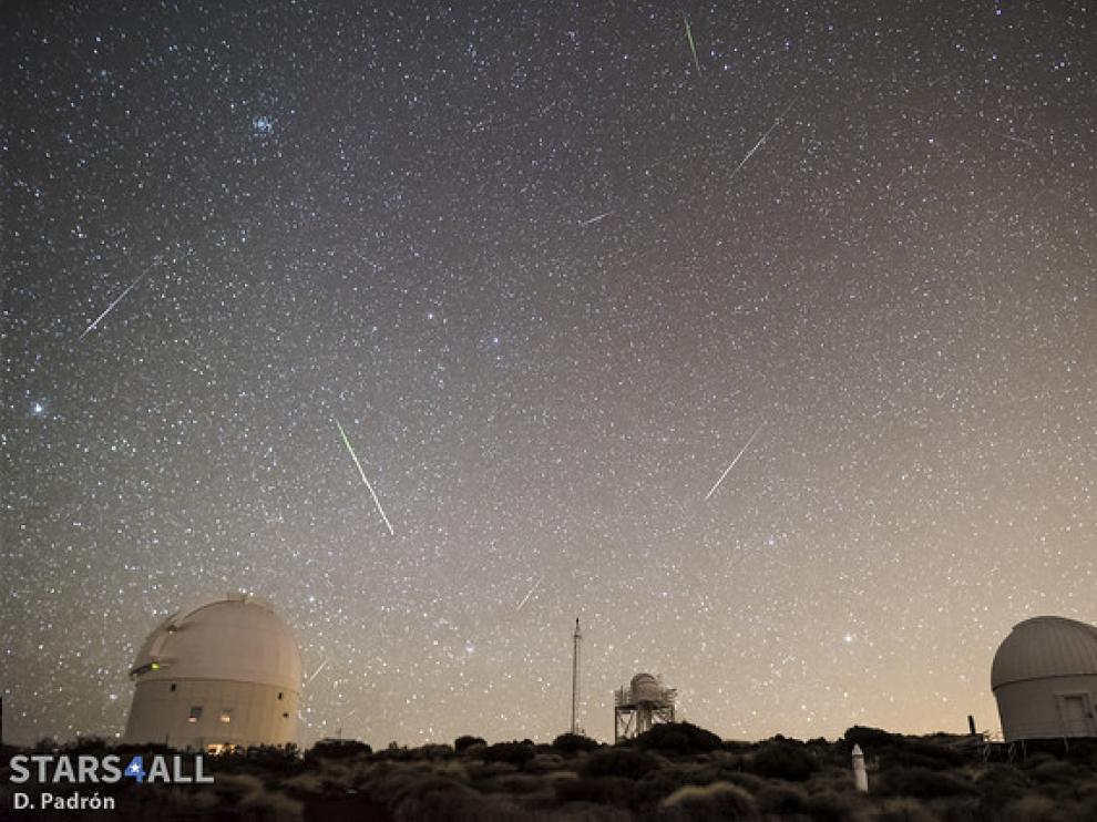 Meteoros registrados en el Observatorio del Teide (IAC) durante una lluvia de estrellas