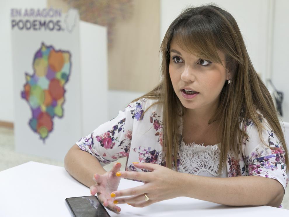 Maru Díaz, durante la entrevista con HERALDO este martes, en la sede de Podemos.