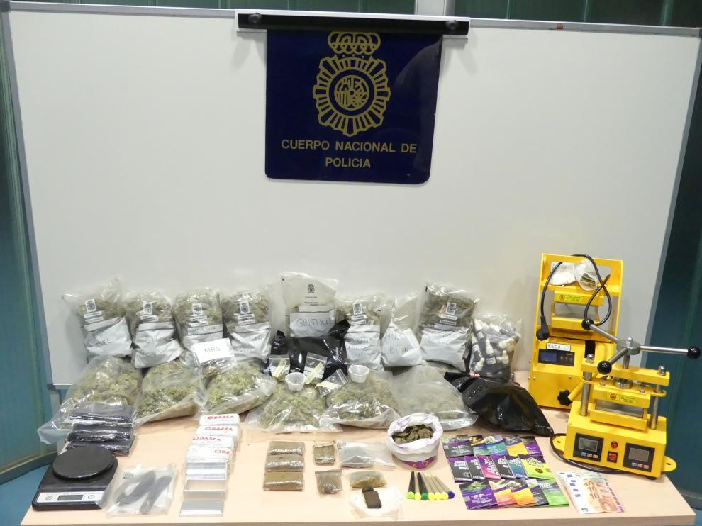 Sustancias decomisadas en la operación en Zaragoza.