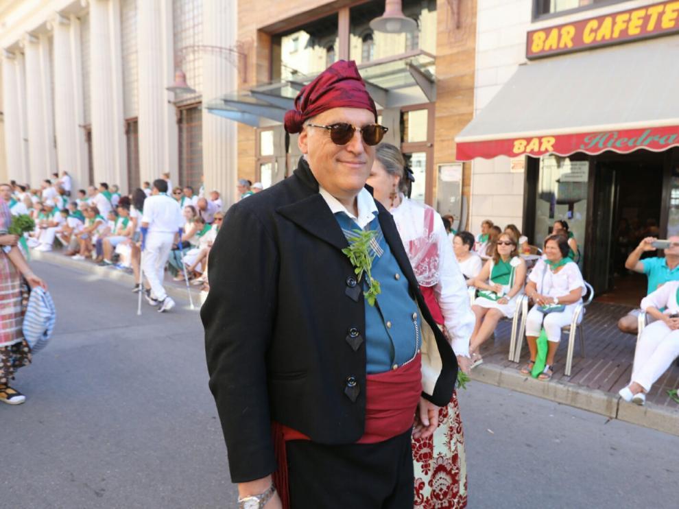 Javier Tebas, durante la procesión de San Lorenzo, este sábado.
