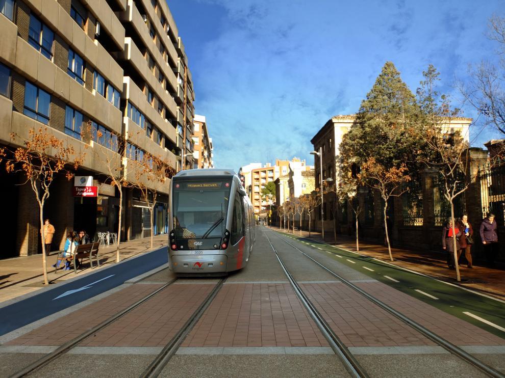 Recreación del tranvía a su paso por Miguel Servet.