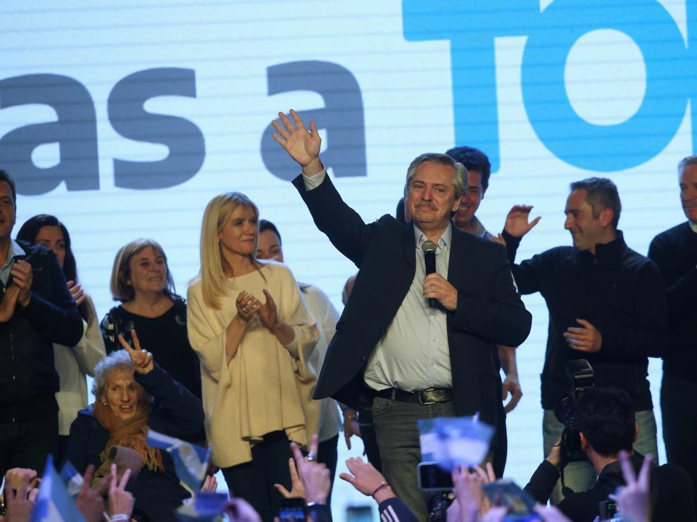 Presidential candidate Alberto Fernandez speaks during the primary elections, at a cultural centre in Buenos Aires, Argentina, August 11, 2019. REUTERS/Agustin Marcarian [[[REUTERS VOCENTO]]] ARGENTINA-ELECTION/