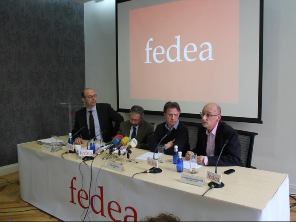 Pablo Vázquez, Samuel Bentolila, Juan José Dolado y Florentino Felgueroso, representantes de FEDEA.