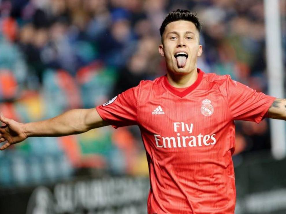 Cristo González celebra el gol marcado al Melilla con el Real Madrid.