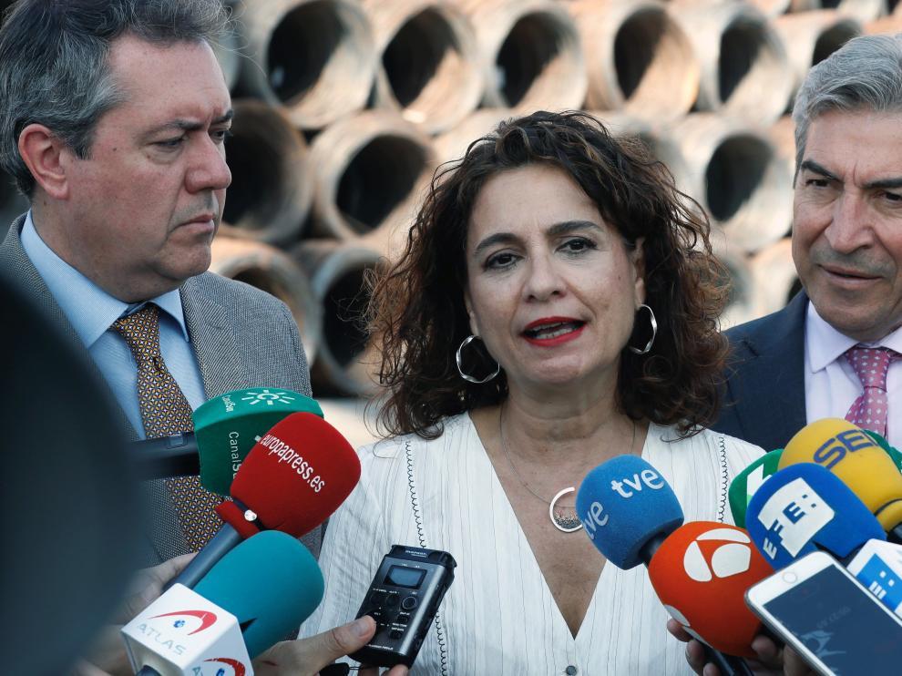 La ministra María Jesús Montero, en declaraciones este martes a los medios.