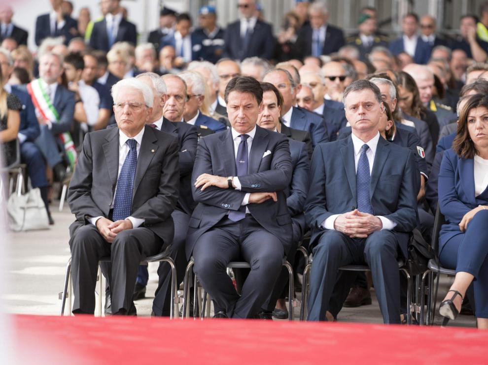 Primer ministro italiano, Giuseppe Conte, en el homenaje a las víctimas de la catástrofe de Génova.