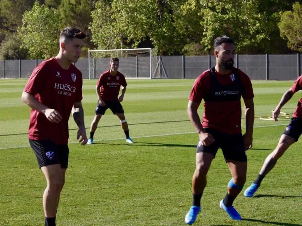 Ivi López y Cristo González, en el entrenamiento matinal de este miércoles.