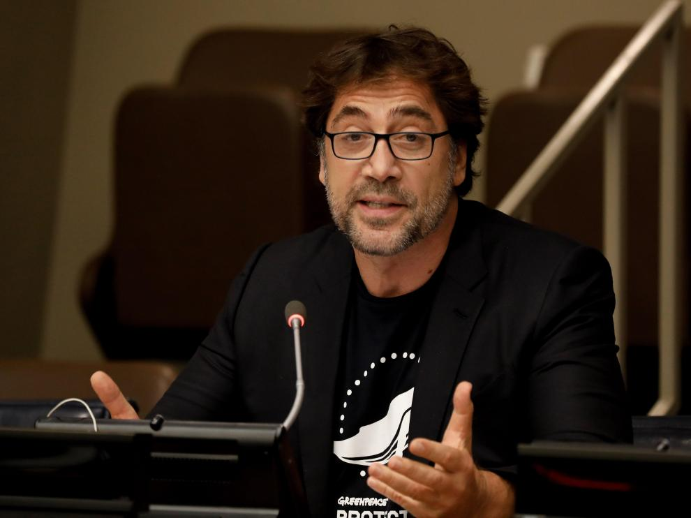 New York (United States), 19/08/2019.- Spanish actor Javier Bardem speaks at special event for a strong Global Ocean Treaty at United Nations headquarters in New York, New York, USA, 19 August 2019. (Estados Unidos, Nueva York) EFE/EPA/PETER FOLEY Javier Bardem speaks at the UN headquarters