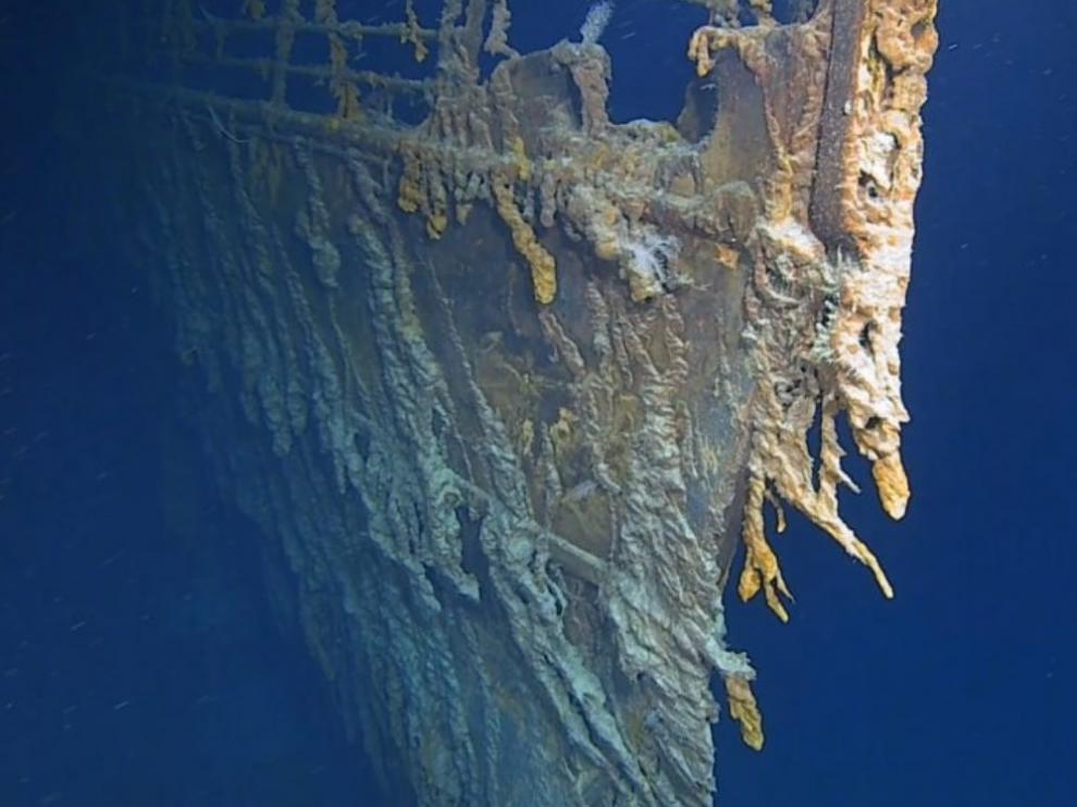 Imagen tomada por Atlantic Productions del estado actual del Titanic.