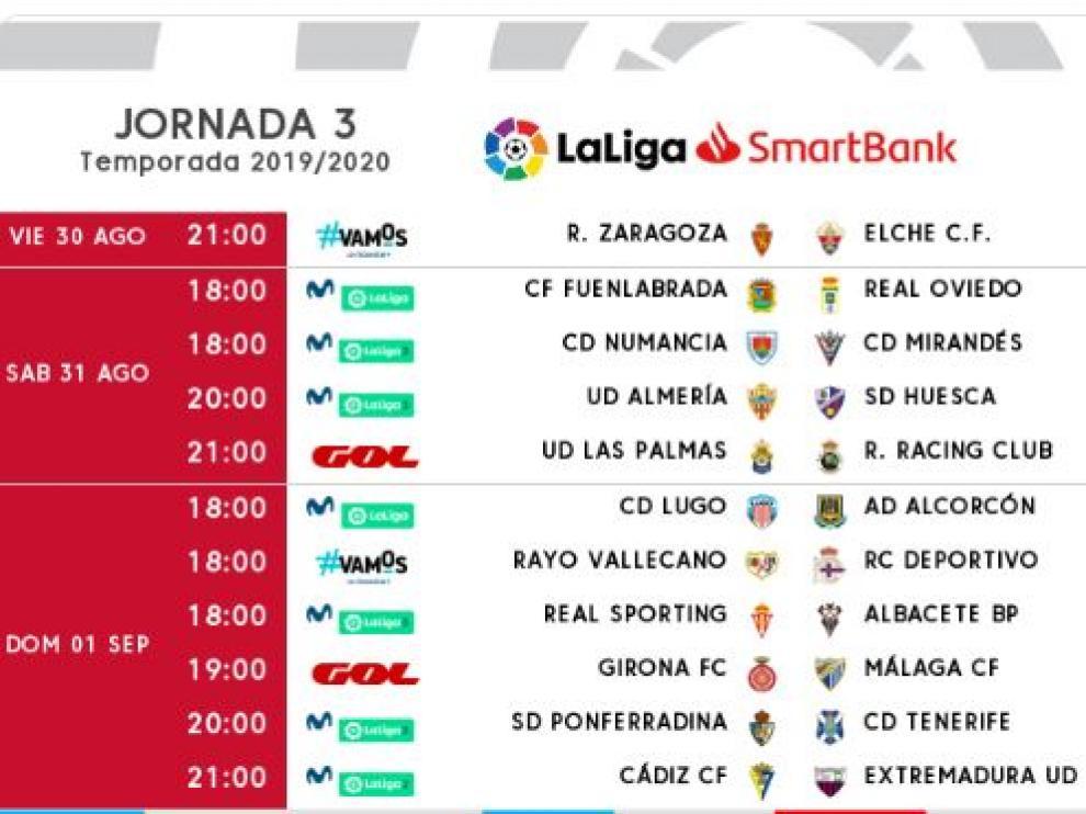 Nueva careta de horarios de la 3ª jornada publicada en la tarde de este jueves por la Liga de Fútbol Profesional: el Real Zaragoza-Elche se modifica y se adelanta una hora, de las 22.00 a las 21.00.