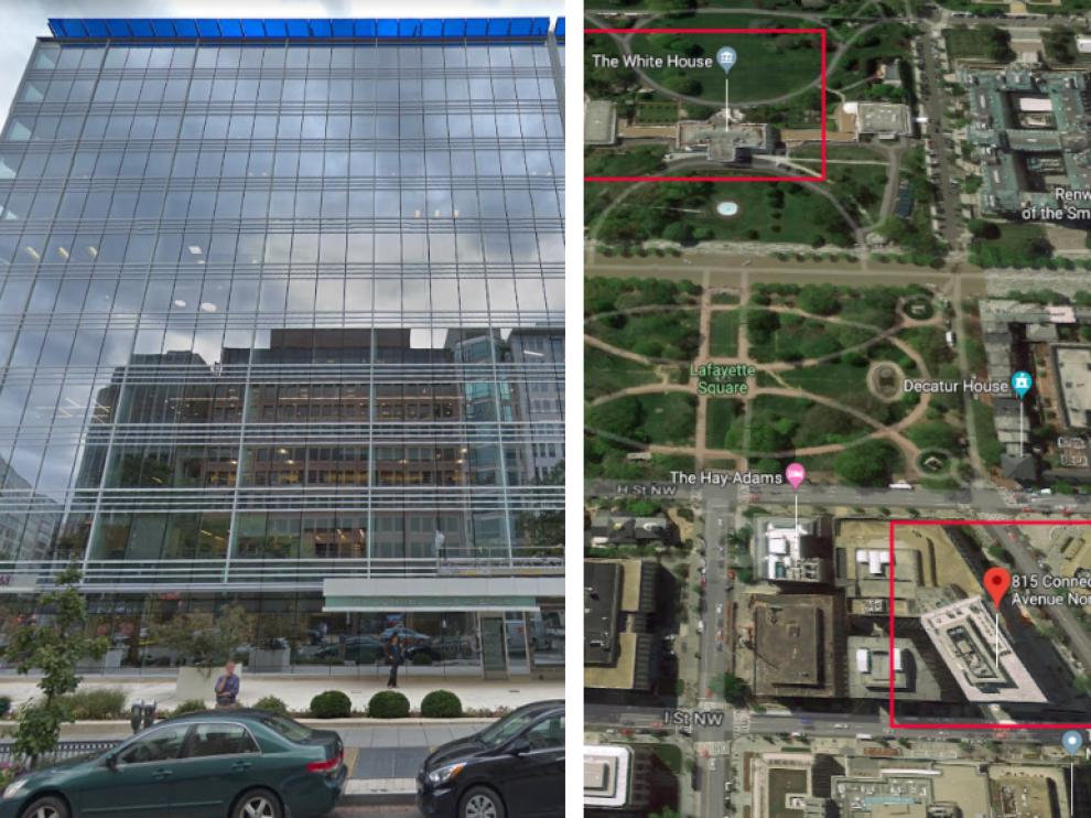 El edificio está ubicado en el número 815 de Connecticut Avenue de Washington.