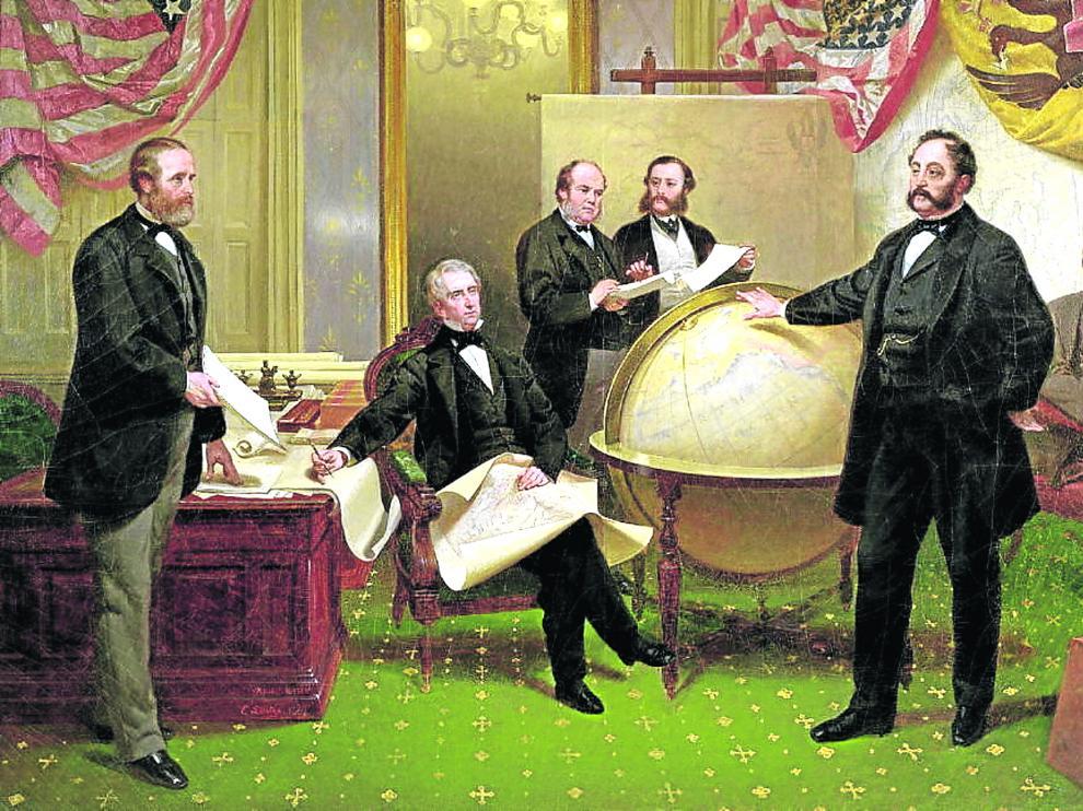 Ilustración que representa la compra de Alaska por parte de EE. UU.