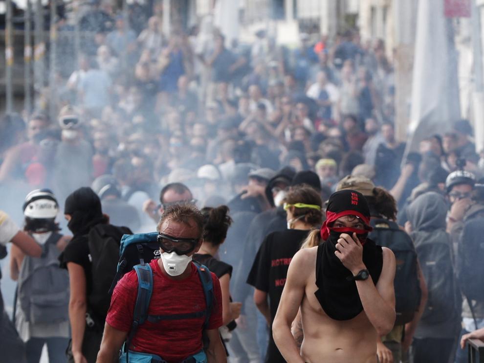 Las protestas se han sucedido estos días en diversas poblaciones del entorno de Biarritz