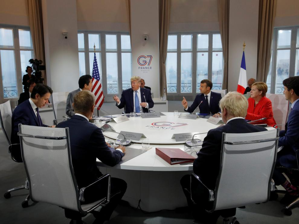 Los líderes del G7 en la reunión mantenida en la mañana de este domingo