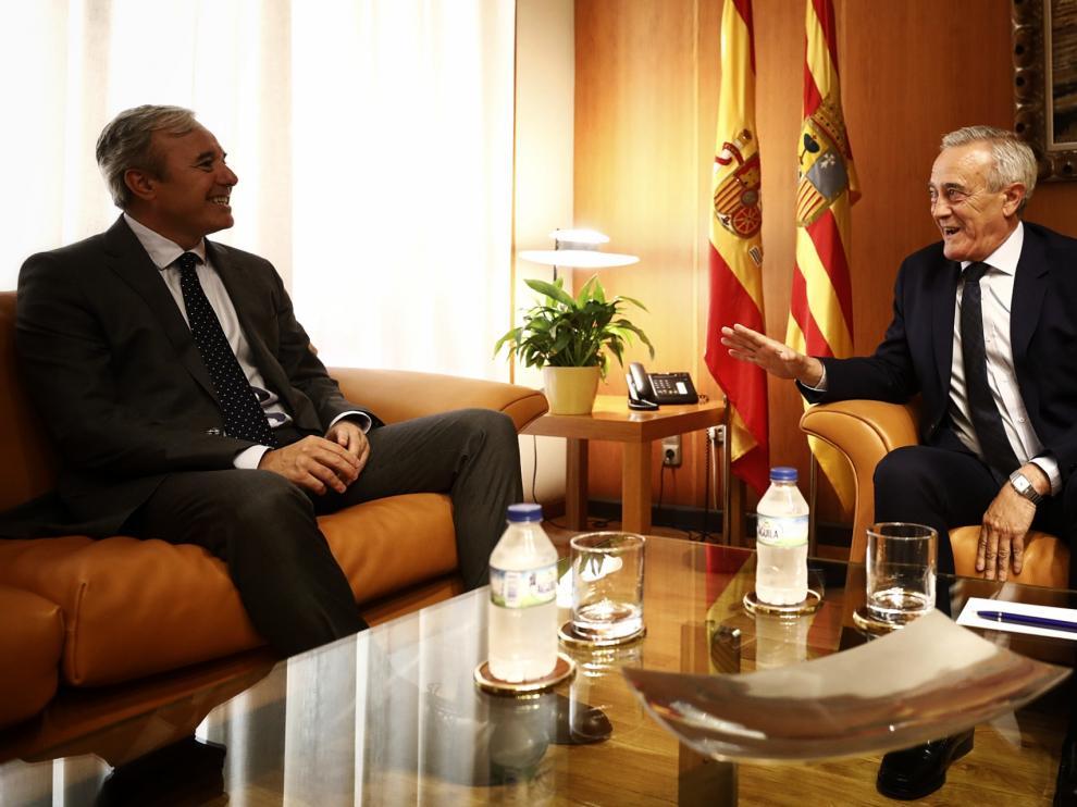 Azcón y Sada, este lunes en el despacho del presidente de las Cortes