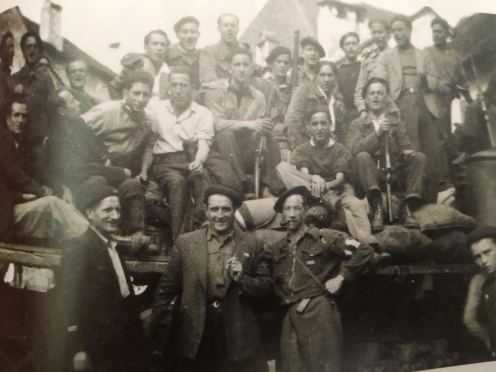 Miembros de la X Brigada de Guerrilleros que intervino en la liberación de Canfranc el 23 de agosto de 1944.