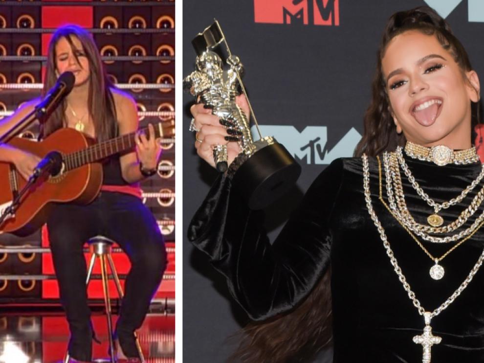 Rosalía, hace años en el programa 'Tú si que vales' y en la reciente gala de los MTV Video Music Award