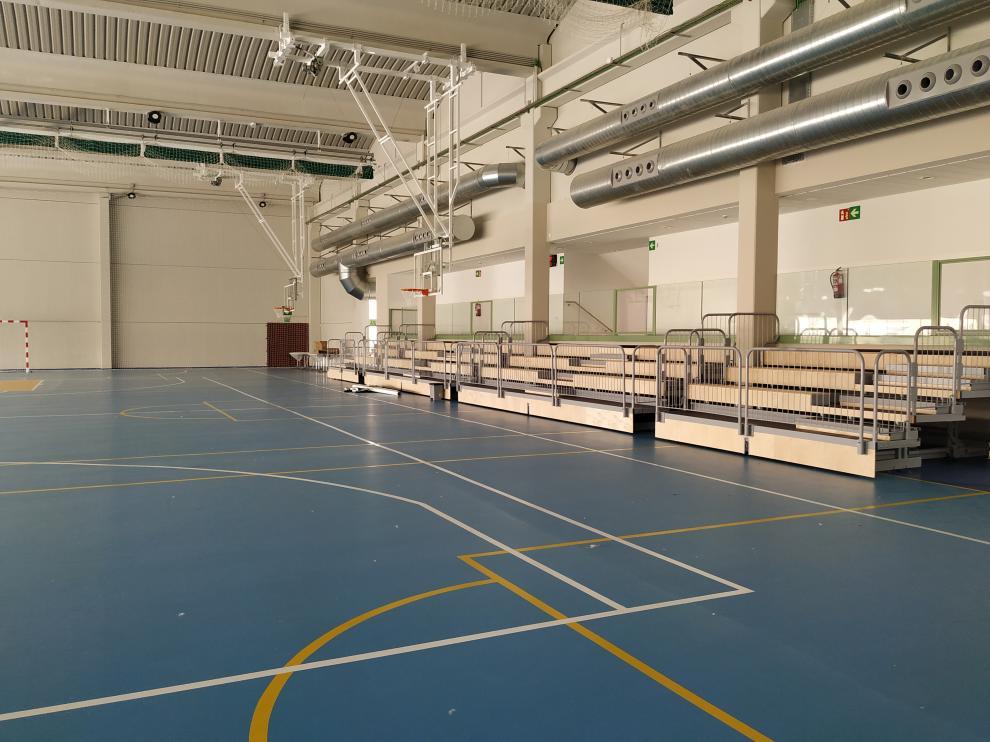 Imagen del interior del nuevo polideportivo de Alagón.