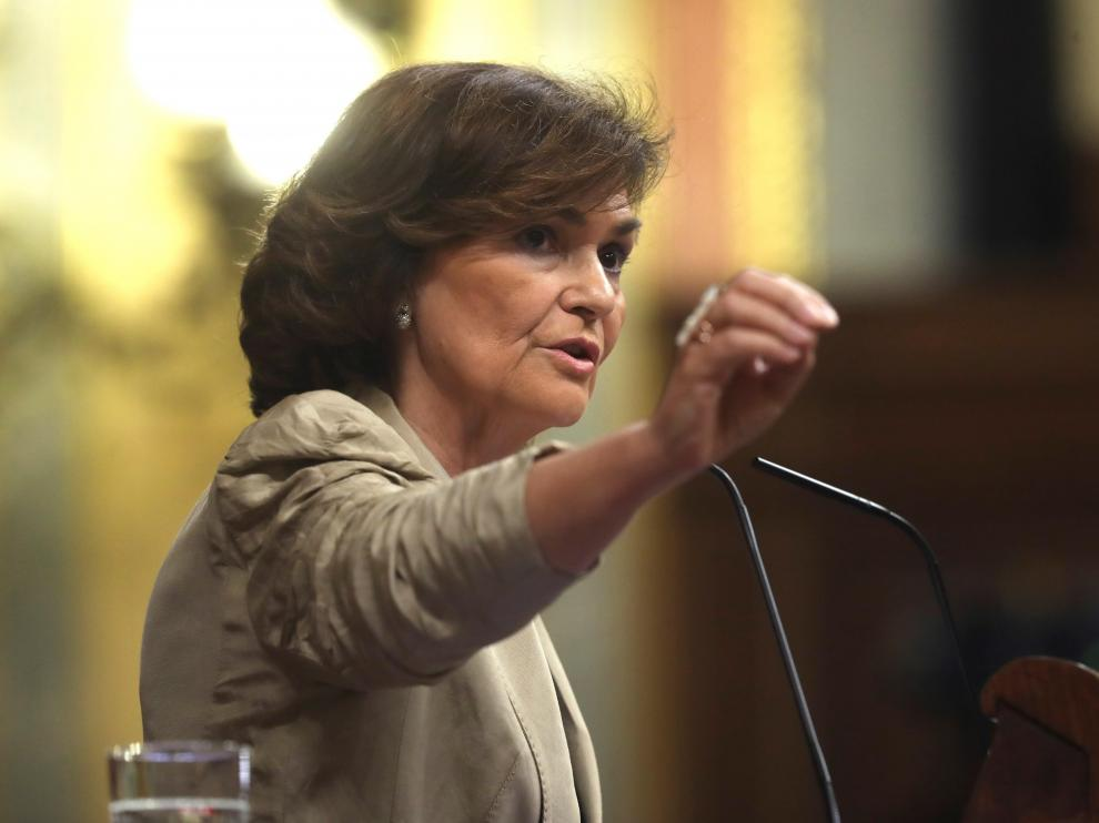 Carmen Calvo en el Congreso este jueves.