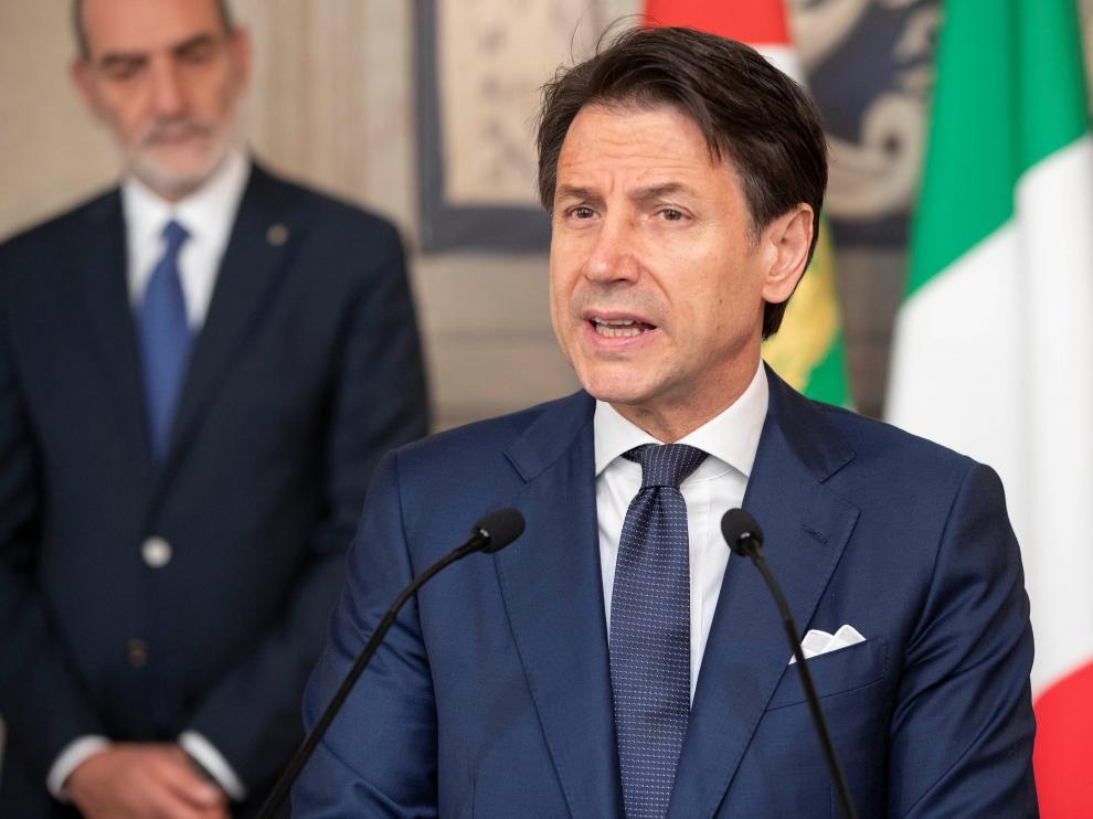 El primer ministro Giuseppe Conte comparece tras reunirse con el presidente de Italia.
