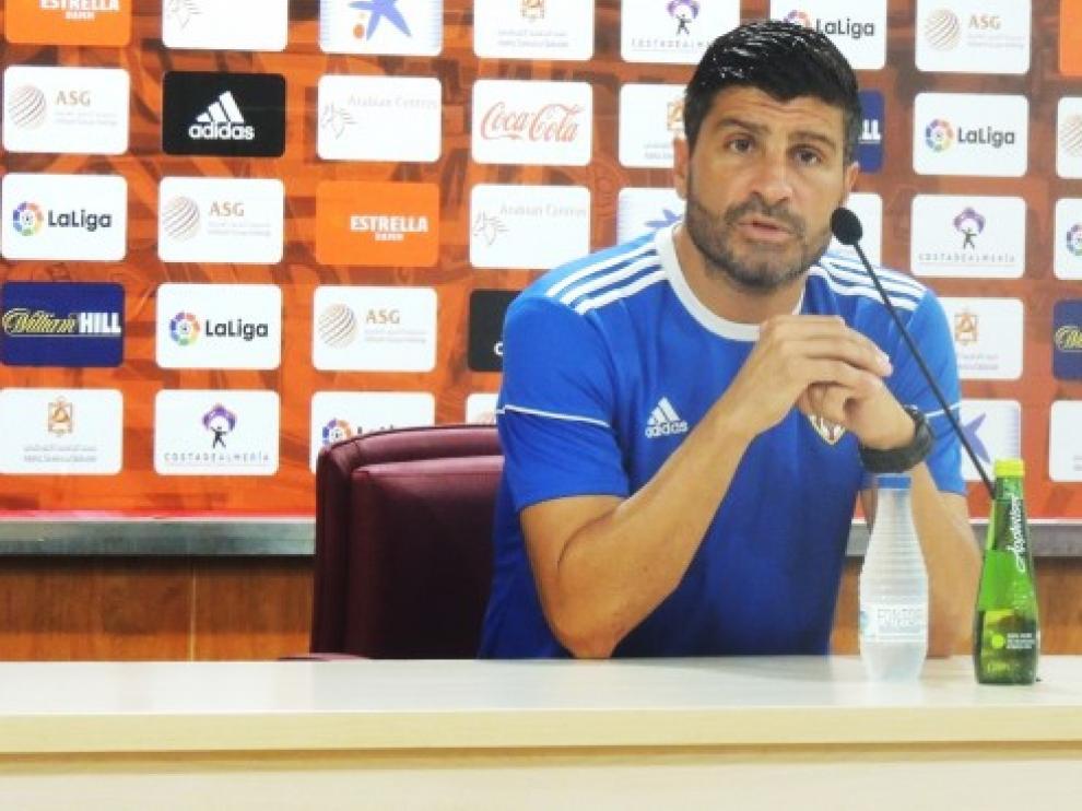 Pedro Emanuel, entrenador de la UD Almería, en la rueda de prensa de este jueves.