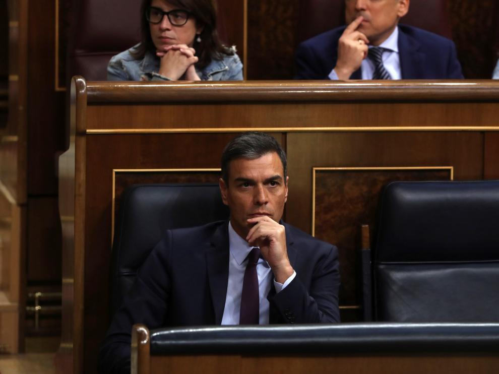 Pedro Sánchez, este jueves, en el Congreso.