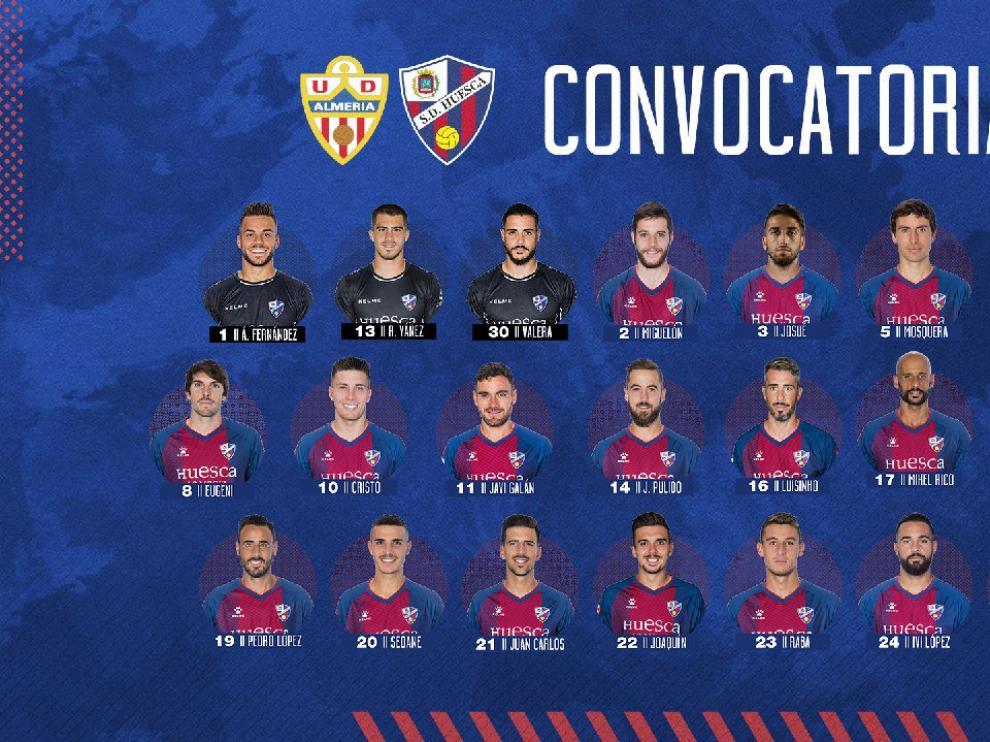 Lista de convocados de la SD Huesca para el choque de este sábado en Almería.