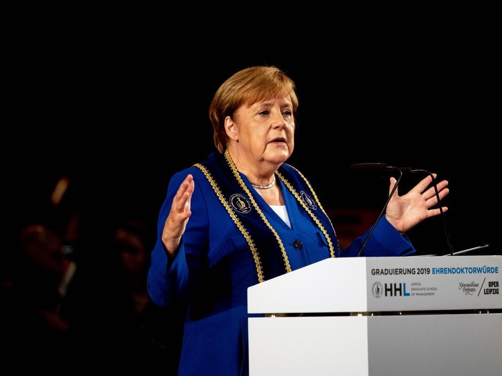 Ángela Merkel este sábado.