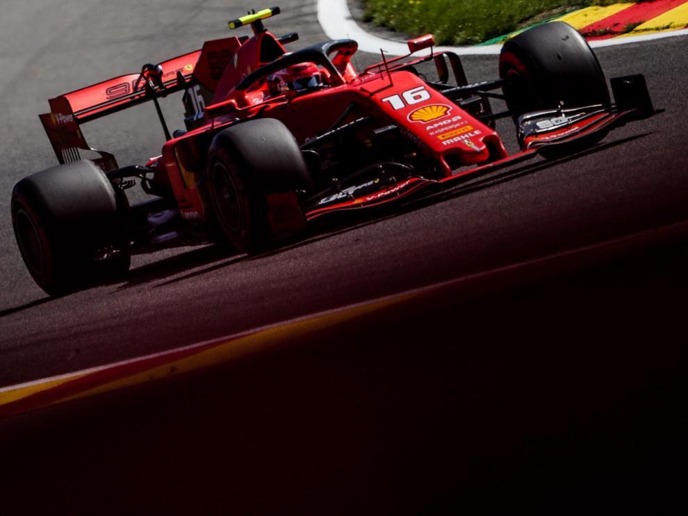 El vehículo pilotado por Leclerc durante la clasificación de este sábado.