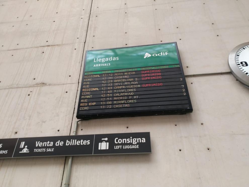 Información de trenes cancelados este domingo en la estación Delicias de Zaragoza