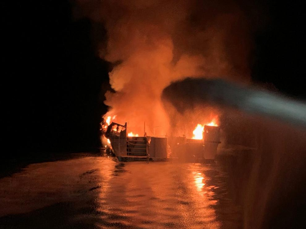 Ventura County Fire Department personnel respond to a boat fire on a 75-foot (23-meter) vessel off Santa Cruz Island, California, U.S. September 2, 2019. Ventura County Fire Department/Handout via REUTERS. THIS IMAGE HAS BEEN SUPPLIED BY A THIRD PARTY. THIS IMAGE WAS PROCESSED BY REUTERS TO ENHANCE QUALITY. AN UNPROCESSED VERSION HAS BEEN PROVIDED SEPARATELY. NO RESALES. NO ARCHIVES [[[REUTERS VOCENTO]]]