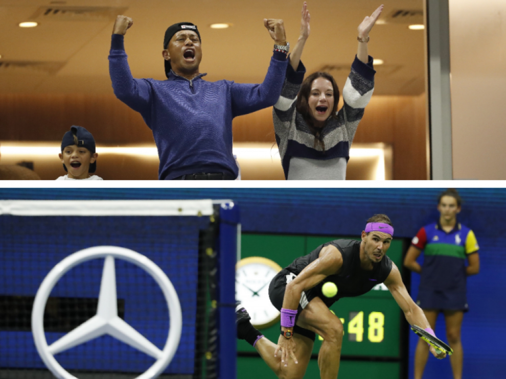 Combo de imágenes de uno de los puntos de Nadal y la celebración de Tiger Woods