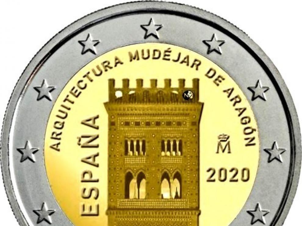 Moneda de dos euros mudéjar.