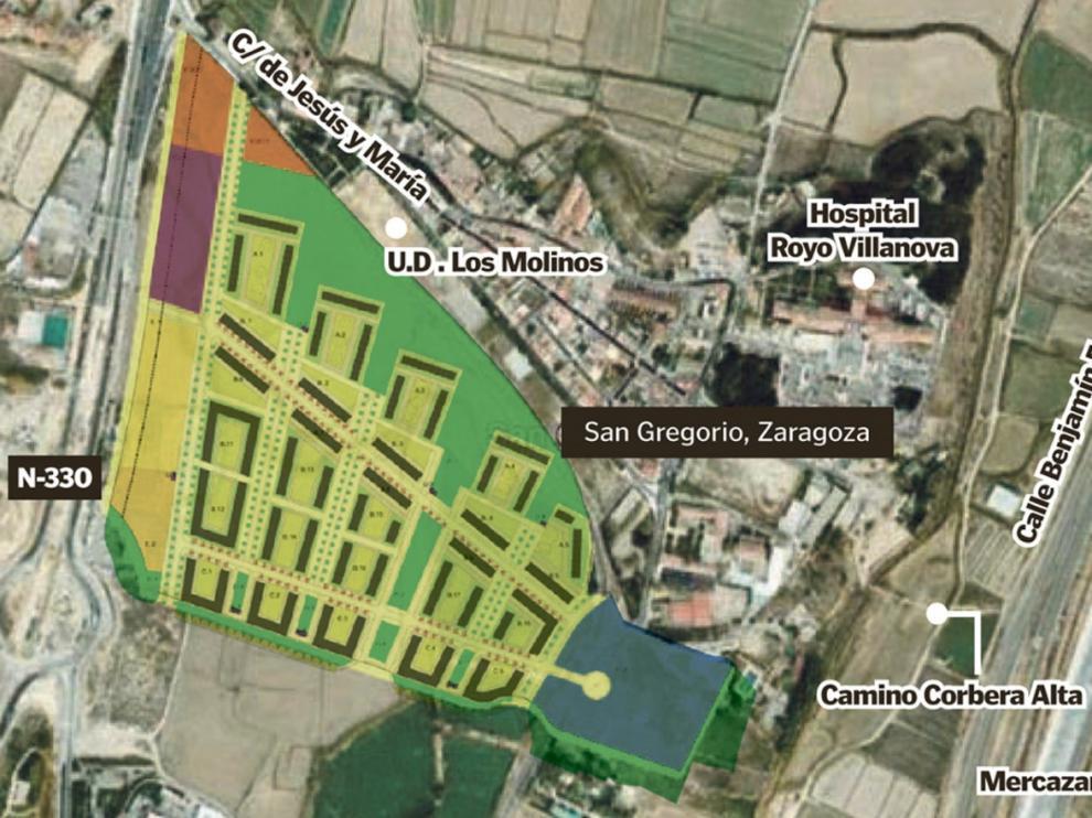 El proyecto urbanístico prevé 1.015 viviendas al sur de San Gregorio.