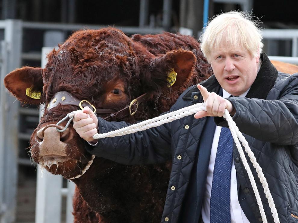 Boris Johnson durante su visita a una granja de Escocia