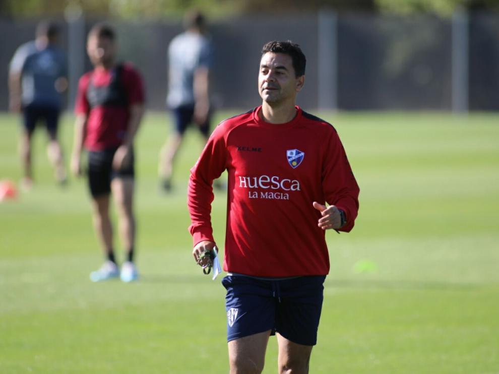 Míchel Sánchez, en el entrenamiento de este sábado.