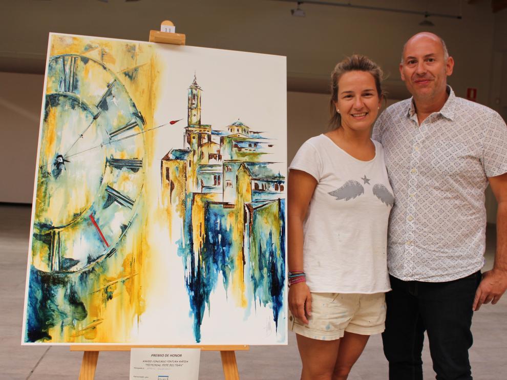 Judith Gangolells es la ganadora del concurso con su obra 'Binéfar en el tiempo'.