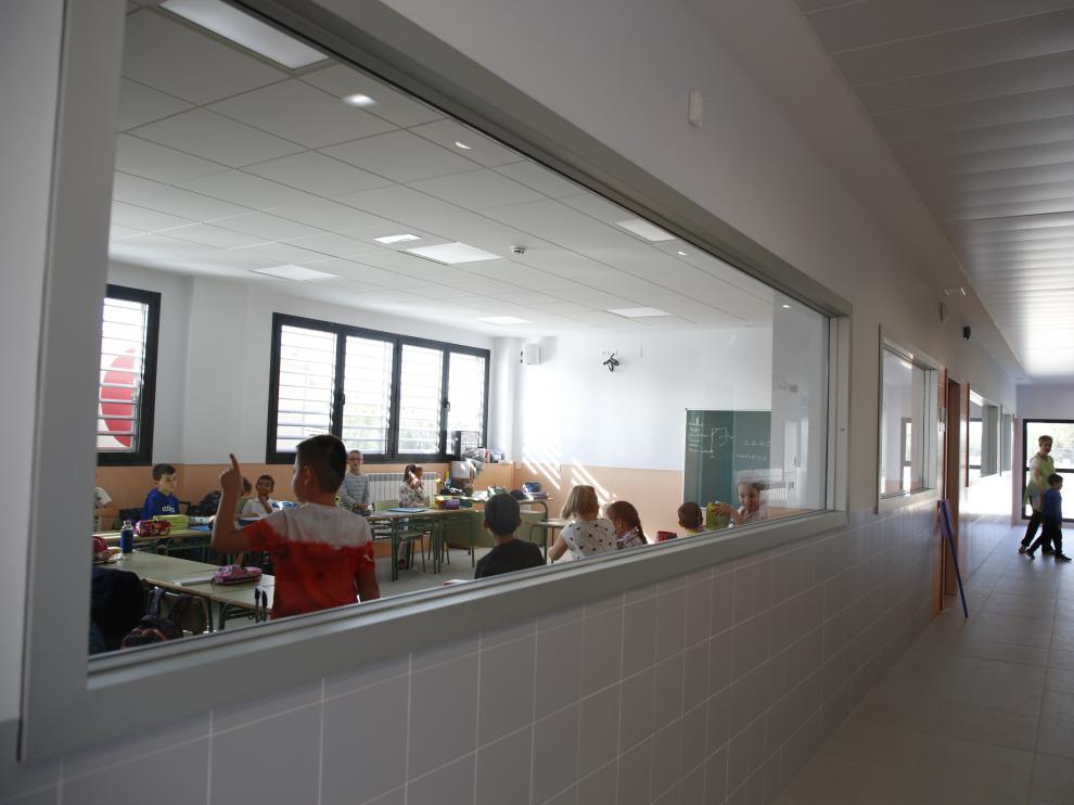 Una de las aulas del nuevo colegio Cervantes de Pedrola.
