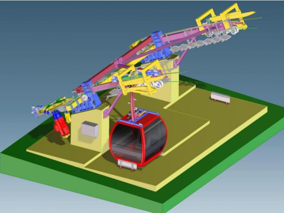Imagen en 3D de la estación inferior, con la cabina en posición antes de la partida.