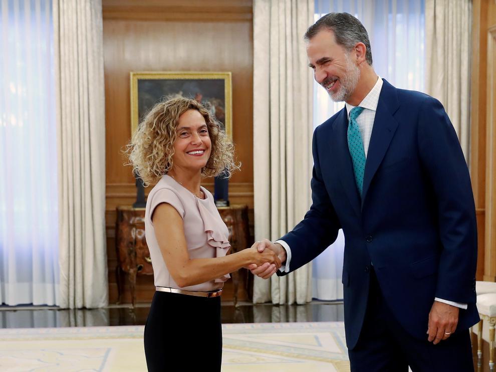 El rey Felipe VI ha recibido este jueves a la presidenta del Congreso, Meritxell Batet.