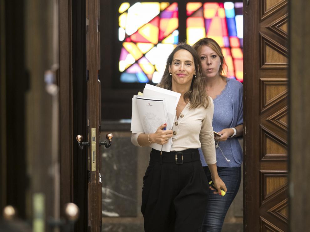 RUEDA DE PRENSA DE MARIA NAVARRO ( CONSEJERA DE PRESIDENCIA , HACIENDA E INTERIOR DEL AYUNTAMIENTO DE ZARAGOZA ) / 11/09/2019 / FOTO : OLIVER DUCH [[[FOTOGRAFOS]]]