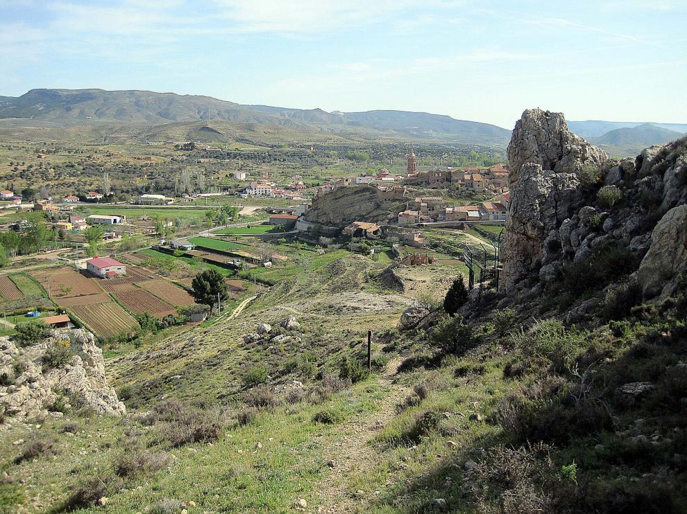 Valle del Martín desde el mirador de la tía Chula con Oliete al fondo.