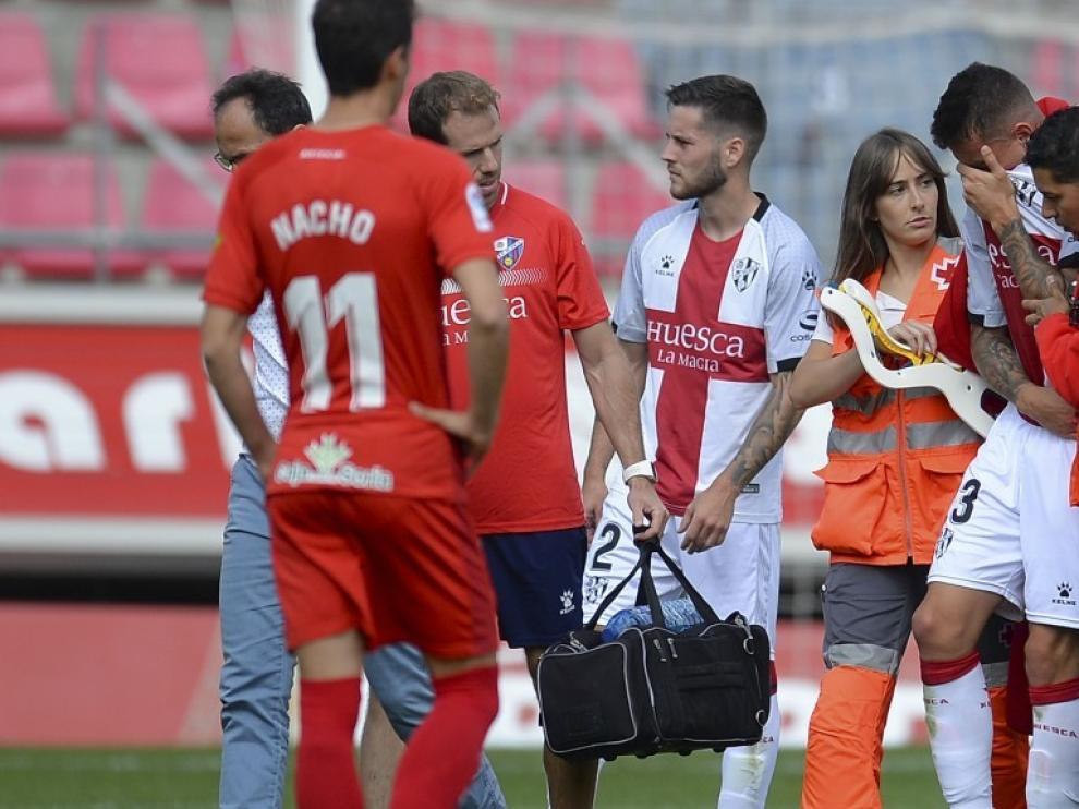 Dani Raba, retirado del campo tras lesionarse el pasado sábado en Soria.