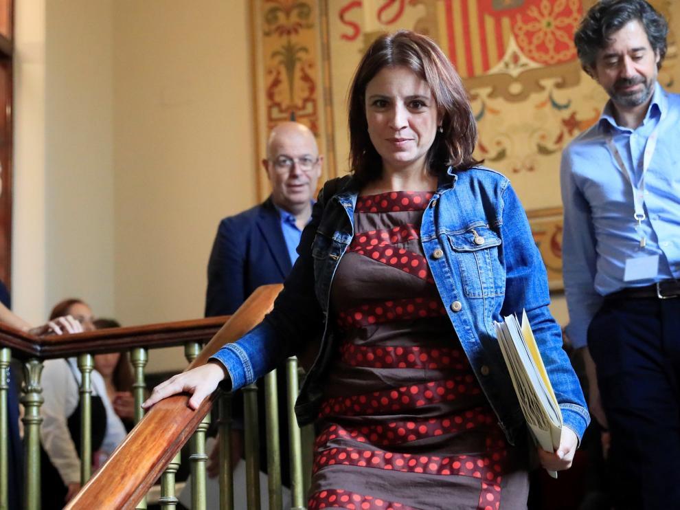 La portavoz del PSOE en el Congreso, Adriana Lastra, este martes.
