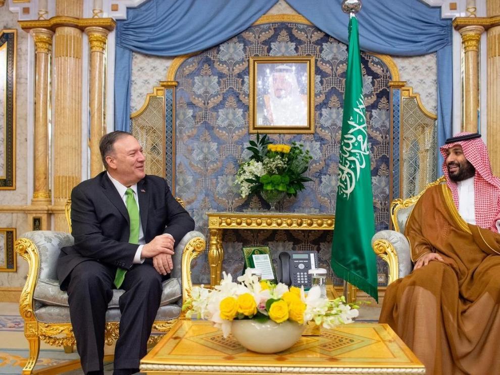 Mike Pompeo en su encuentro con el príncipe Mohammed bin Salman