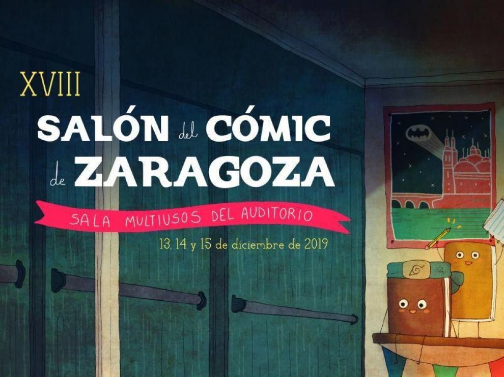 Cartel del XVIII Salón del Cómic de Zaragoza hecho por la turolense Laura Rubio.