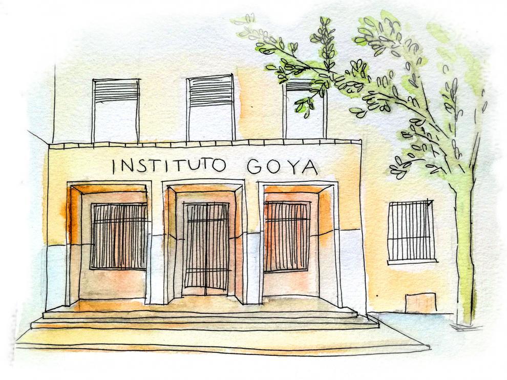Dibujo al natural del Instituto Goya en Zaragoza.