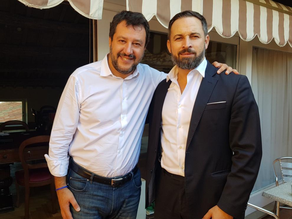 El líder de Vox Santiago Abascal se ha reunido con el ex viceprimer ministro italiano Matteo Salvini.