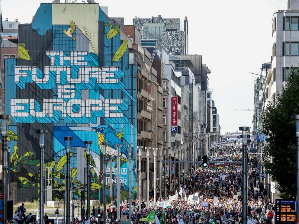 Manifestación contra el cambio climático en Bruselas.