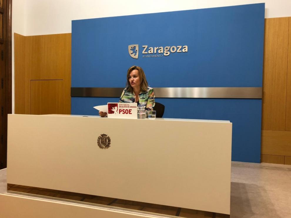 Pilar Alegría, este viernes en una rueda de prensa.